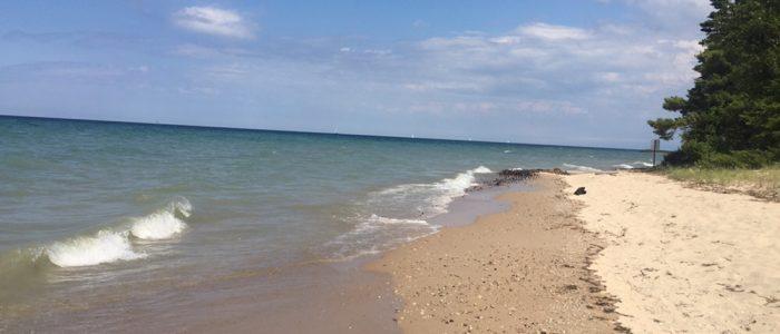 Lake Huron - Note Shipwreck on Beach